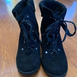 torrid Shoes - Torrid Sherpa Wedge Zip & Lace Booties size 11.5W